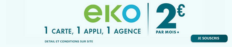 EKO - 1 carte, 1 appli, 1 agence - 2euros par mois.